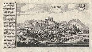 Marburg an der Lahn : Kupferstich von Gabriel Bodenehr, um 1720