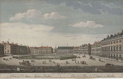 London : St. James Square. - Altkol. Guckkastenkupfer, 1753