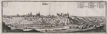 Leisnig : Kupferstich aus Matthaeus Merian, Topographia Superioris Saxoniae [...], 1650