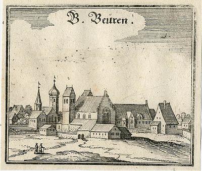 "Benediktbeuern Kupferstich, Matthaeus Merian, ""Topographia Bavariae"""