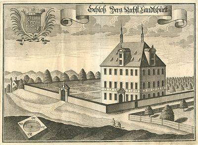 Schloß Berg (Landshut) : Kupferstich von Michael Wening, 1723