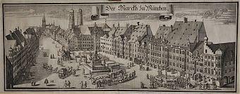 ANKAUF ALTE STICHE IN MÜNCHEN . München/Marienplatz : Kupferstich von Michael Wening, 1701 (Exemplar der Erstauflage)