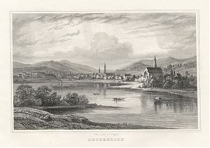 Deggendorf : Stahlstich von Johann Poppel, um 1880 / Antiquariat Joseph Steutzger / Buch am Buchrain / www.steutzger.biz