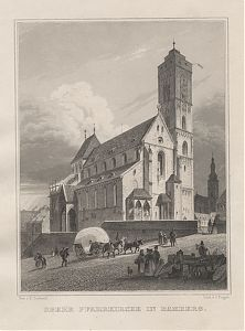 Bamberg : Obere Pfarrkirche in Bamberg, Stahlstich Poppel/Gerhardt, ca. 1850