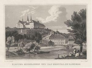 Bamberg: Kloster Michelsberg und das Hospital zu Bamberg. - Stahlstich Poppel/Gerhardt, 1846