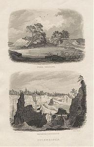 Solenhofen/Solnhofen : Fossa Carolina (Karlsgraben)/ Marmorsteinbruch. - Stahlstich Poppel/Lebsché, um 1850