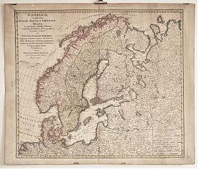 Skandinavien: Altkol. Kupferstichkarte, J.B. Homann Erben, 1776 // Graphik-Antiquariat Joseph Steutzger / Ankauf alte Stiche