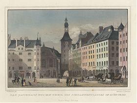 München: Rathaus/Schrannenplatz. - Kol. Stahlstich