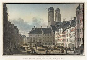 München: Marienplatz/Schrannenplatz. Kol. Stahlstich, um 1850 / Antiquariat Joseph Steutzger / Ankauf alte Stiche