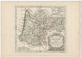 Guienne, Gascogne, Basse Navarre: Kupferstich Dussyd/Vaugondy, c. 1790 - Antiquariat Steutzger