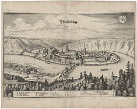 Wasserburg am Inn: Kupferstich, Matthaeus Merian, um 1650 - Antiquariat Steutzger