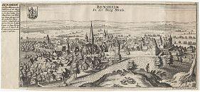 Bensheim a.d. Bergstraße: Kupferstich, Gabriel Bodenehr, um 1720 - Antiquariat Steutzger
