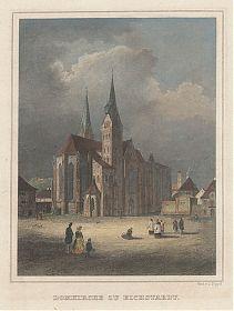 Eichstätt / Dom: Stahlstich v. Johann Poppel, um 1880 - Antiquariat Steutzger