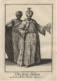 Türkei/Osmanisches Reich: Der Gross-Sultan im Serrail mit den Kislar Agassi - Kupferstich, Weigel, 1723 - Antiquariat Joseph Steutzger