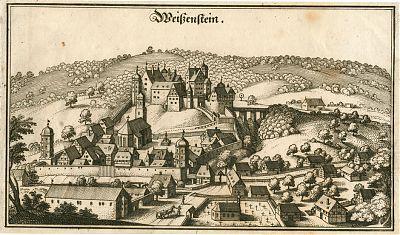 """Weißenstein : Kupferstich aus """"Topographia Sueviae"""", um 1643-1650"""