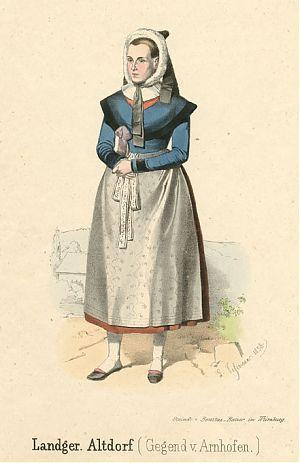 Weibliche Tracht aus der Gegend von Arnhofen